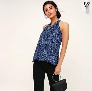 Lulu's Navy Blue Polka Dot Tie-Neck Sleeveless Top